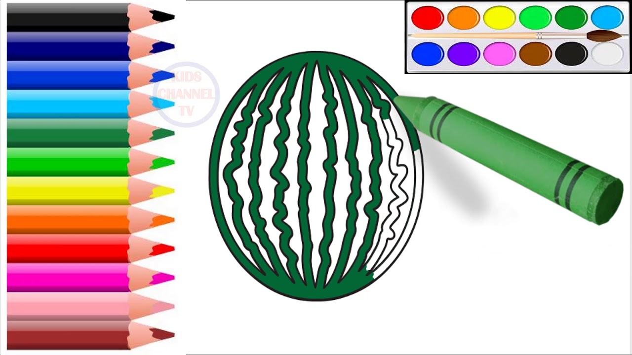 Drawing and Coloring Watermelon Draw Watermelon Coloring Pages Fruit ...
