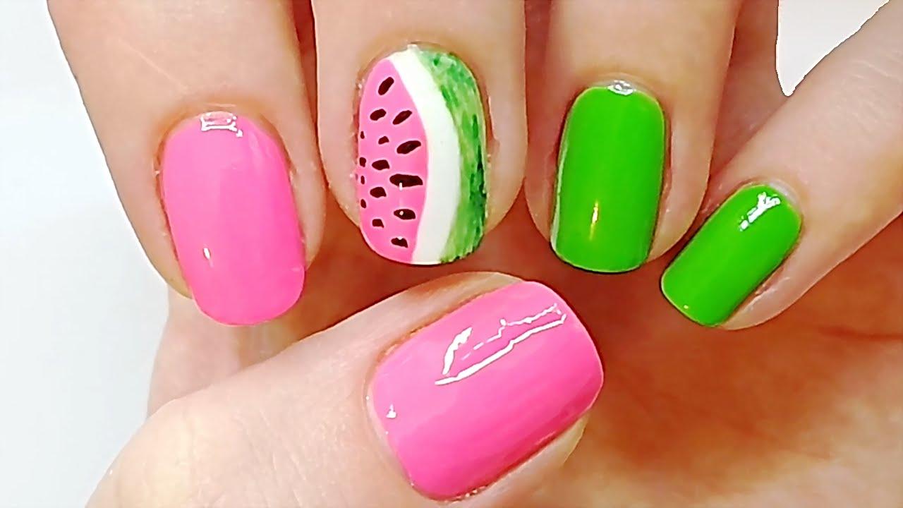 3 Step Super Cute Watermelon Nails Nail Art Tutorial For Beginners
