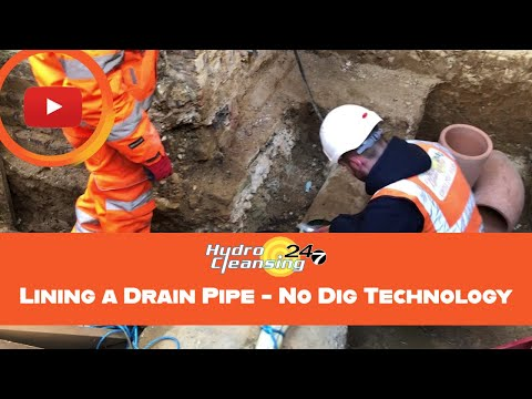 Lining a Drain Pipe - No Dig Technology