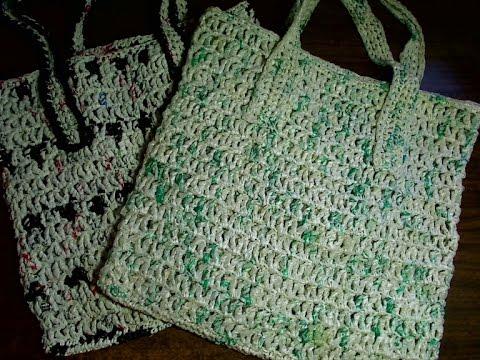 Plarn crocheted grocery bag - left handed - YouTube