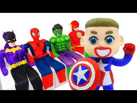 BABY MEETS SUPERHERO CAPTAIN AMERICA 💖 Cartoons Play Doh Stop Motion