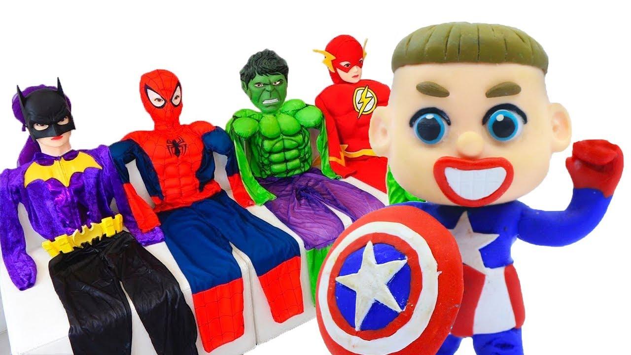 Baby Meets Superhero Captain America Cartoons Play Doh Stop Motion Youtube