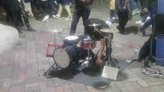 [일본인 드럼 버스킹] 신들린 드럼 홍대버스킹 20170407금 [Korean Hongdae Kpop Street Drum Busking]