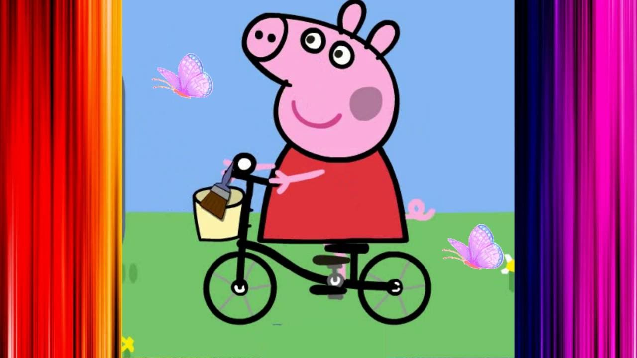 учим цвета свинка пеппа на русском смотреть мультфильм игра свинка пеппа раскраска