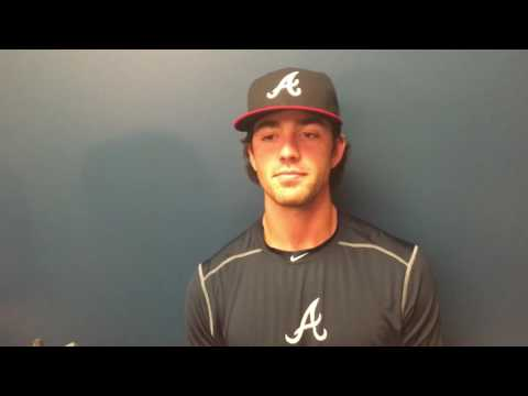 Dansby Swanson meets with the media prior to his MLB debut
