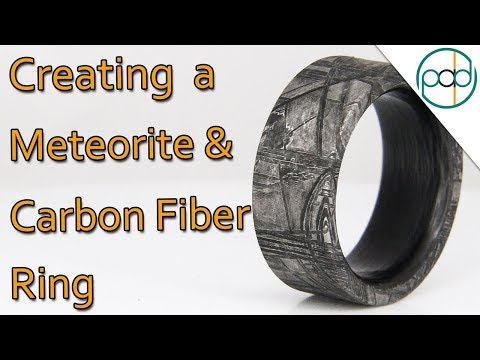 Making A Meteorite And Carbon Fiber Ring On A Lathe