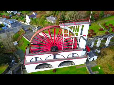DJI Mavic Drone Flight over Laxey Wheel and Laxey Waterfall, Laxey, Isle of Man.