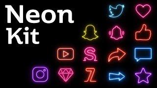 Neon Kaplama Düzenleme Paketi Yeşil Ekran Animasyon