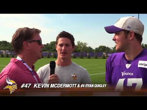 Vikings Kevin McDermott and Ryan Quigley at Training Camp 2018 - funny