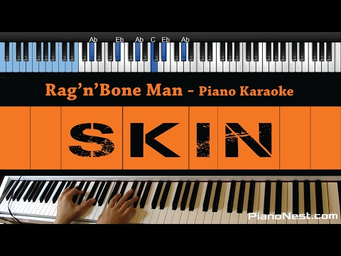 Rag'n'Bone Man - Skin - LOWER Key (Piano Karaoke / Sing Along)
