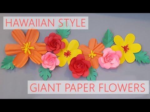 DIY |  HAWAIIAN STYLE PAPER FLOWERS | FLORES DE PAPEL ESTILO HAWAIANO ❤