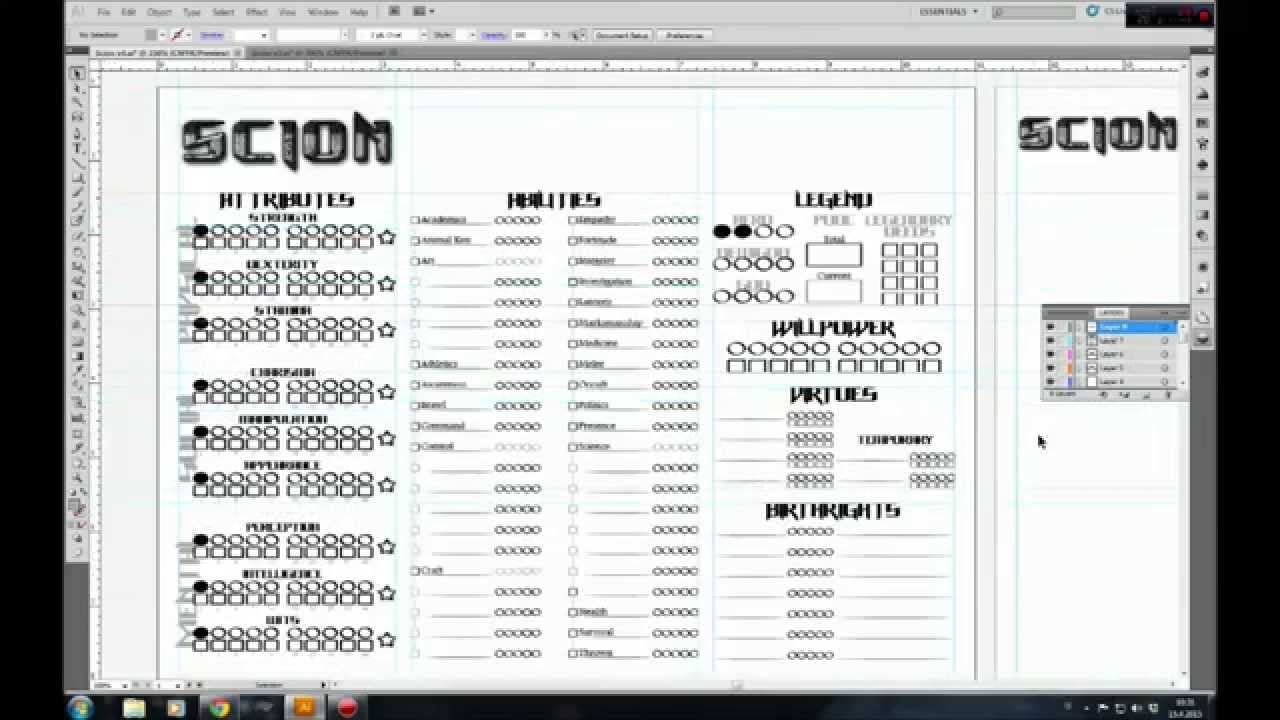 My Rpg Vlog 06 Character Sheet For Scion Part 3 Youtube