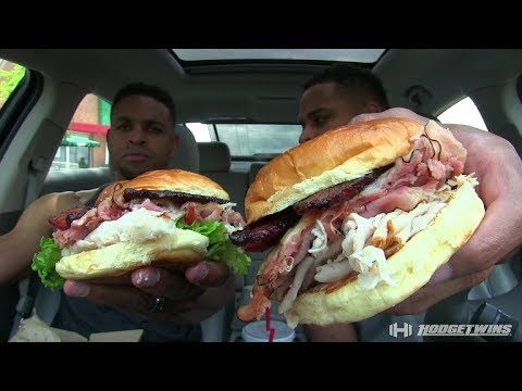 Eating Arby's Triple Thick Brown Sugar Bacon Half Pound Club @hodgetwins