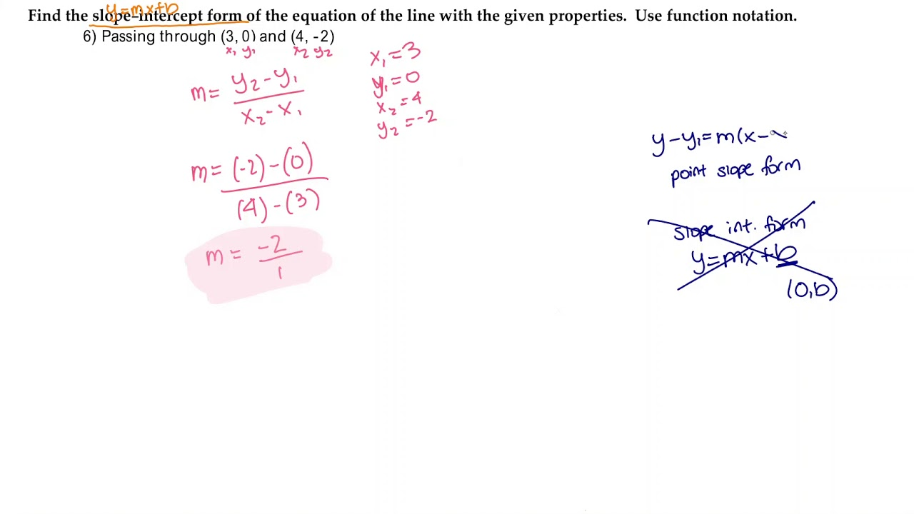 slope intercept form youtube  REDO 8 Find the slope-intercept form... Use function notation.