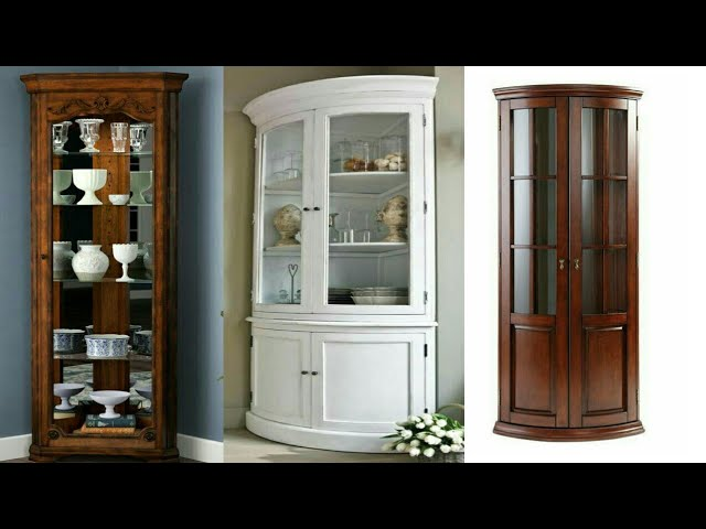 Wooden Corner Glass Cabinet Design, Corner Cabinet Furniture