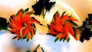 Чудесные цветочки за пару минут! Украшения из овощей! Карвинг моркови и огурца