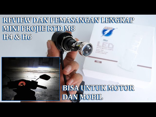 Review Pemasangan Lengkap Led Mini Projie Rtd M8 Soket H6 H4 36w 3600lm Youtube