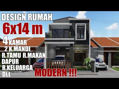 rumah minimalis modern 6x14 2 lantai - youtube