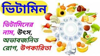 ভিটামিন - রাসায়নিক নাম, উৎস, অভাবজনিত রোগ, শারীরবৃত্তীয় কাজ   Vitamin - Origin, Usage, Side Effect
