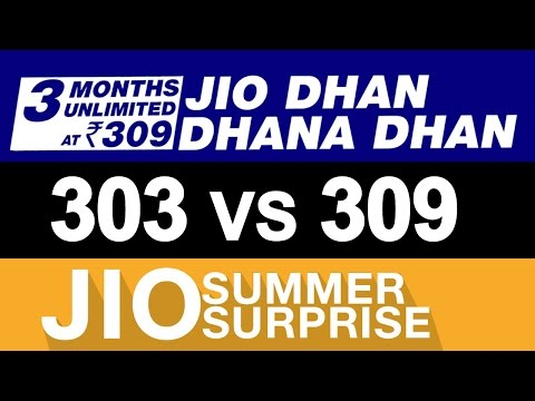 JIO Dhan Dhana Dhan OFFER vs Summer Surprise OFFER | 303 vs 309 | JIO 4G PRIME Tariff Plan Details