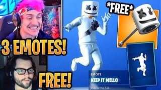 "Streamers React to New *FREE* Marshmello ""Keep it Mello"" Emote & ""Marshy Smasher"" Pickaxe! -Fortnite"