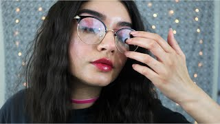 ASMR Tapping On My Glasses (Close up, Whispering, Tongue Clicking)