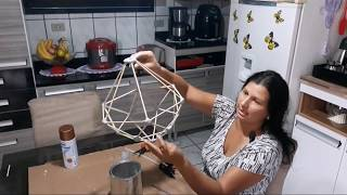 Como fazer luminária pendente usando palito de churrasco/faça você mesmo/Sandra batista