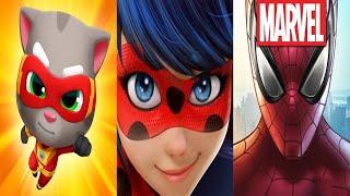 My Talking Tom 2,Miraculous Ladybug,Super Mario,Subway Surfers,Batmat,Talking Tom and Friends,Spider