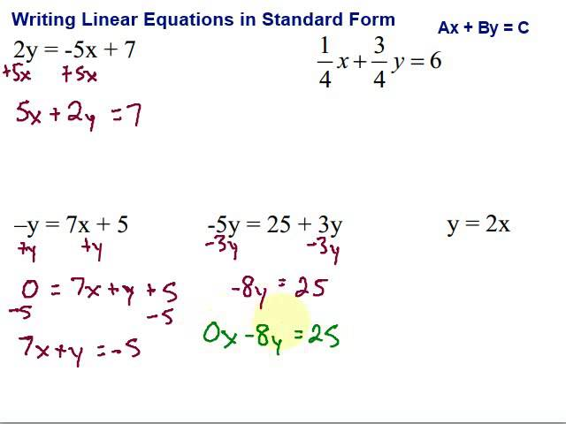 standard form math equation Writing Linear Equations in Standard Form - YouTube