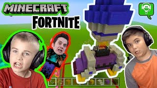 Minecraft Fortnite BATTLE BUS Build Challenge with HobbyKids