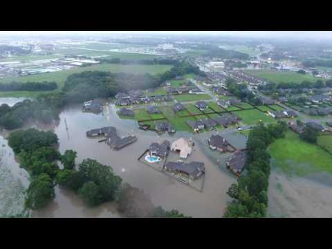 Drone video of flooding in Lafayette LA. August 13, 2016. Avies Knoll, Millcreek Cove