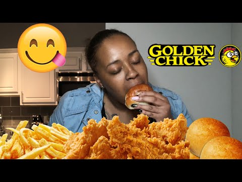 GOLDEN CHICK MUKBANG - SPICY CHICKEN TENDERS! ASMR!
