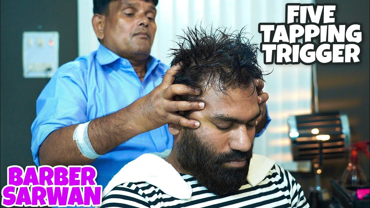 ASMR HEAD MASSAGE | FIVE TAPPING TRIGGERS FOR RELAXING SLEEP  💈 INDIAN BARBER💈