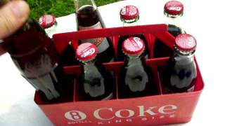 Coca Cola Vintage 8-Pack Holder with Bottles...Coke Collectors...For Sale!