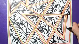 Line Drawing / Relaxing Demonstration / Daily Art Therapy / Doodle Pattern 01