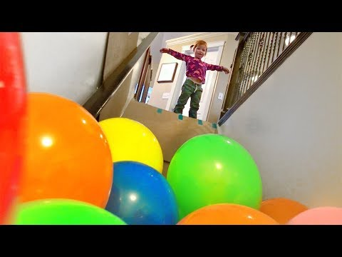 BALLOON STAIR SLIDE!!
