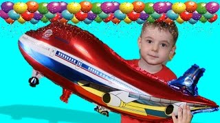 SURPRISE TOYS GIANT BALLOON POP CHALLENGE.  2 Airplane at Bogdan`s show