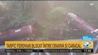 Un tren cu combustibil a deraiat în județul Dolj