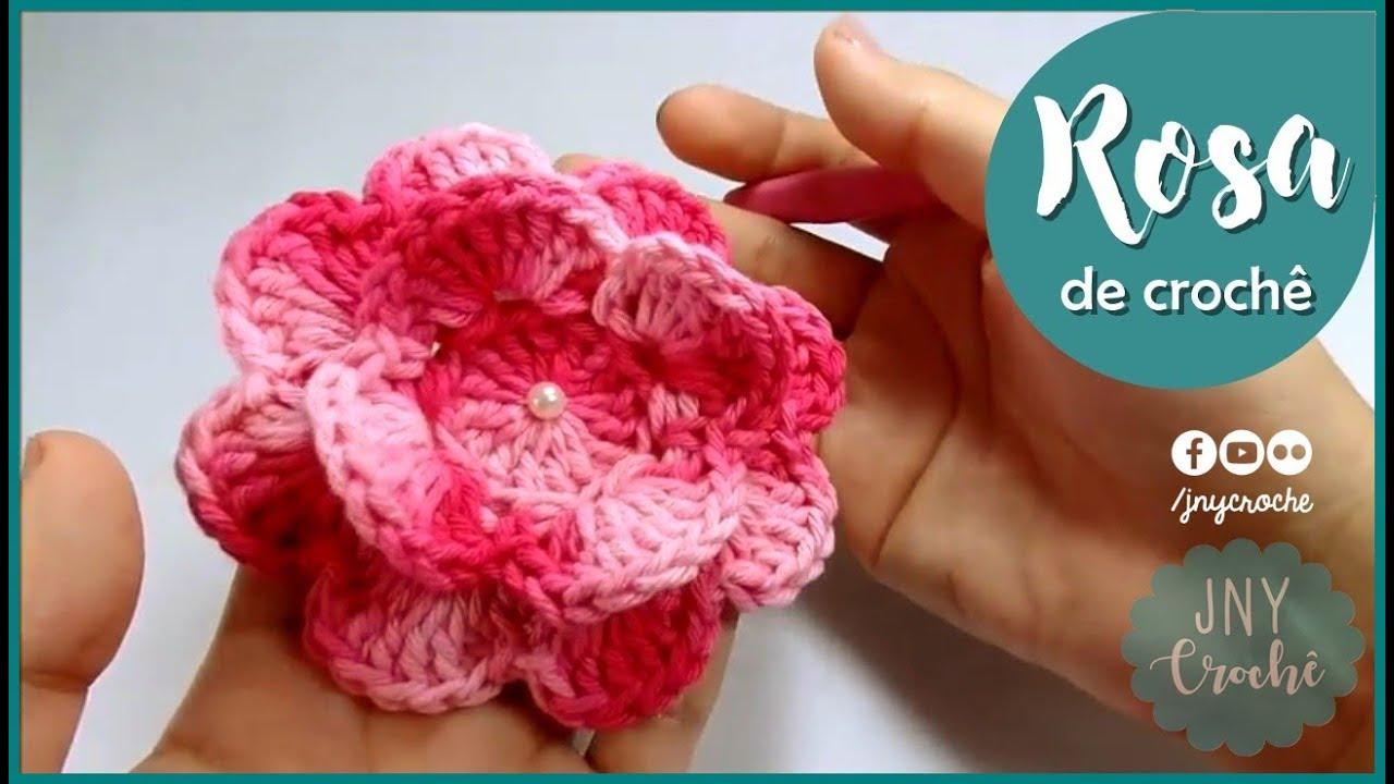 Passo a Passo de Crochê Flor Rosa por JNY Crochê  YouTube
