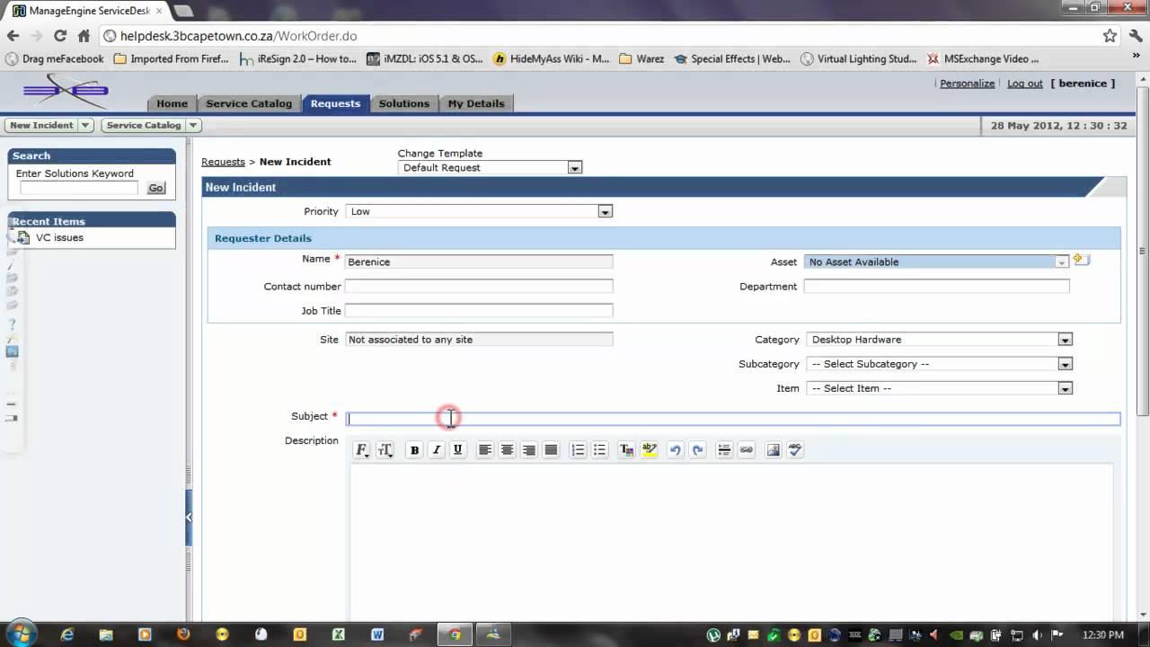 video logging template