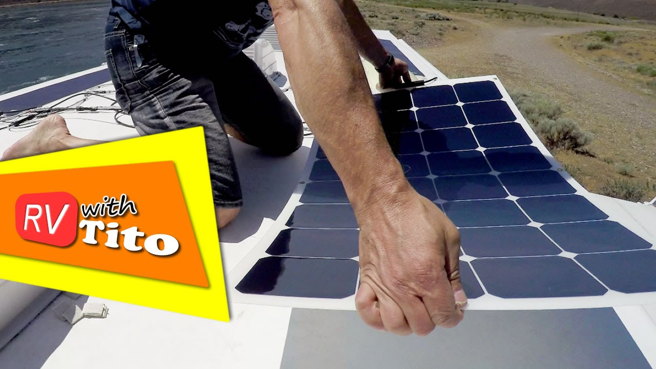 How To Install A Flexible Solar Panel On An Rv Youtube