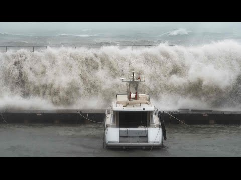 video: Watch: Giant waves smash parts of Spain