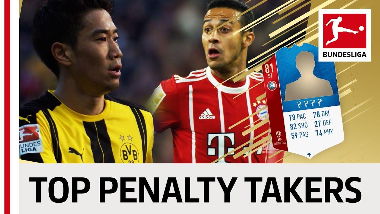 Top 10 Penalty Takers World Cup 2018 - EA SPORTS FIFA 18 -  Kagawa, Thiago & More