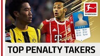 Top 10 Penalty Takers World Cup 2018 - EA SPORTS FIFA 18 -  Kagawa, Thiago & More
