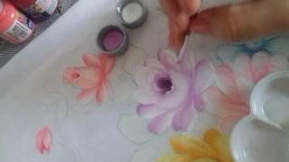 Pintura em Tecido – Aprenda pintas Rosas, Flor do Campo, Folhas e Acamamento