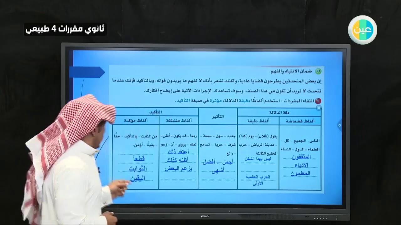 دروس عين مهارات بناء الخطبة اللغة العربية 4 مقررات ثاني ثانوي طبيعي Youtube