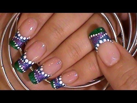 Purple green blue dotted nail design youtube prinsesfo Choice Image