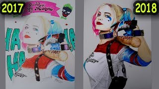 Old vs New drawing - Harley Quinn ( Margot Robbie )