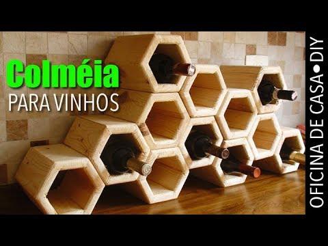 Colmeia para vinhos com madeira de palete #DIY #oficinadecasa