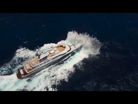 55m superyacht crossing the Atlantic seen from a drone